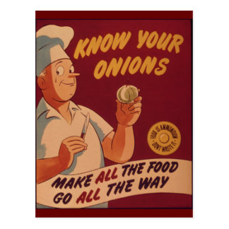 Know your onions postcard