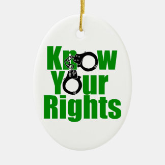 KNOW YOUR RIGHTS - police state/prison/drug war Ceramic Oval Ornament