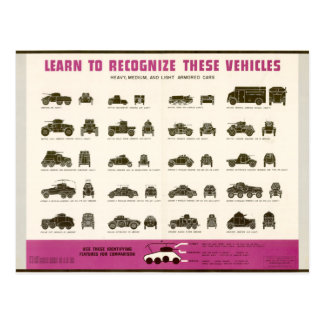 Know Your Vehicles Armored Cars Postcard