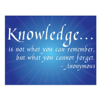 Knowledge... Inspirational Wisdom Quote Postcard