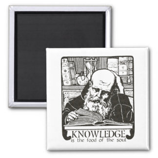 Knowledge is Food Square Magnet