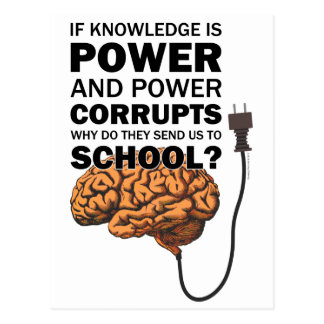 Knowledge Power Funny Quote Ironic Meme Brain Postcard