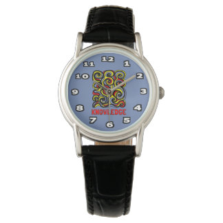 """""""Knowledge"""" Womens Classic Black Leather Watch"""