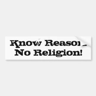 knowreason_noreligion bumper sticker
