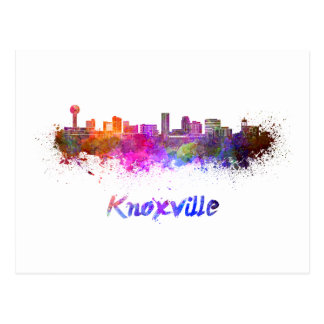 Knoxville skyline in watercolor postcard