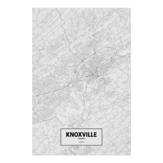 Knoxville, Tennessee (black on white) Poster