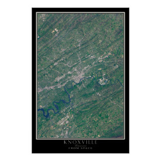 Knoxville Tennessee From Space Satellite Map Poster
