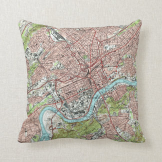 Knoxville Tennessee Map (1978) Throw Pillow