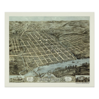 Knoxville, TN Panoramic Map - 1871 Poster