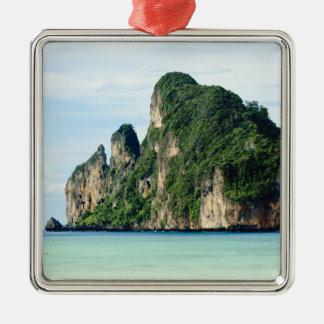 Ko Phi Phi Island on Andaman Sea, Krabi Silver-Colored Square Ornament