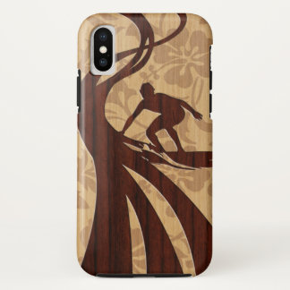 Koa Wood Surfer Faux Wood Surfboard iPhone X Case
