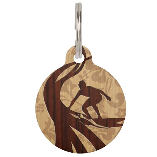 Koa Wood Surfer Faux Wood Surfboard Pet Name Tag