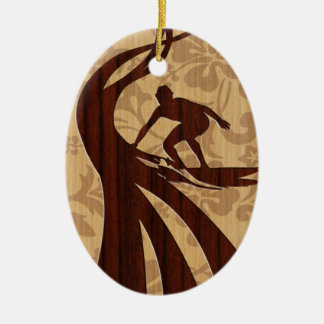 Koa Wood Surfer Surfboard Ceramic Ornament