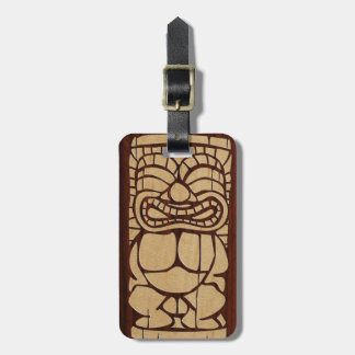 Koa Wood Tiki Ailani Hawaiian Luggage Tags