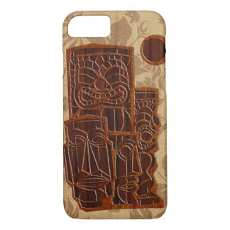 Koa Wood Tiki Sun Faux Wood Surfboard iPhone 8/7 Case