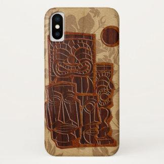 Koa Wood Tiki Sun Faux Wood Surfboard iPhone X Case