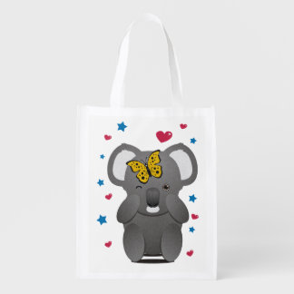 Koala And Butterfly Reusable Grocery Bag
