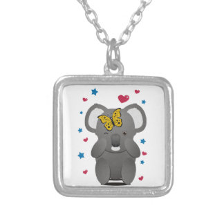 Koala And Butterfly Silver Plated Necklace