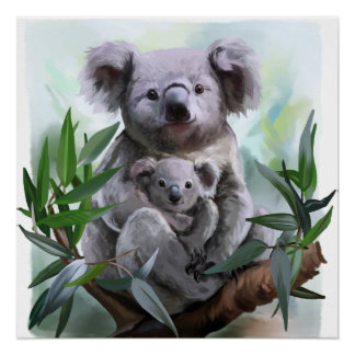 Koala and her baby perfect poster