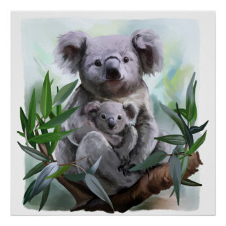 Koala and her baby poster