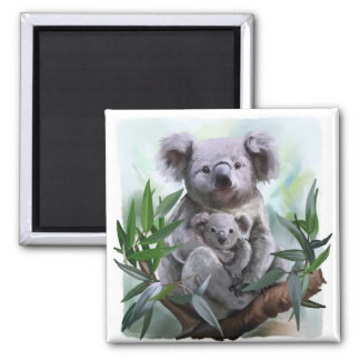 Koala and her baby square magnet