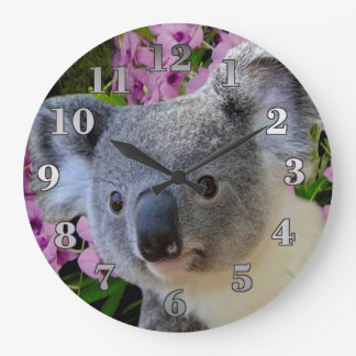 Koala and Orchids Large Clock
