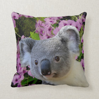Koala and Orchids Throw Pillow