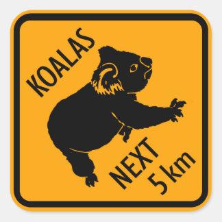 Koala Bear Australia Sign (pack of 6/20) Square Sticker