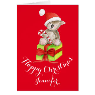 Koala bear cute watercolor art Christmas card