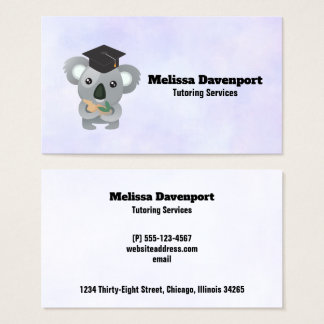 Koala Bear in Graduation Cap Tutor Business Card