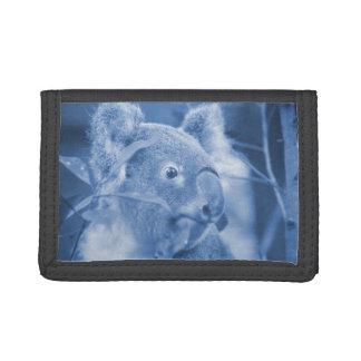 koala bear looking right blue marsupial trifold wallets