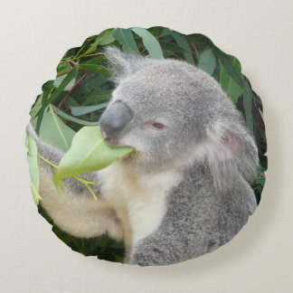 Koala Eating Gum Leaf Round Pillow