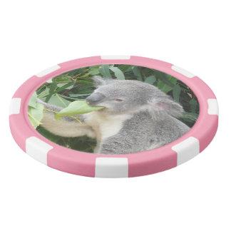 Koala Eating Gum Leaf Set Of Poker Chips