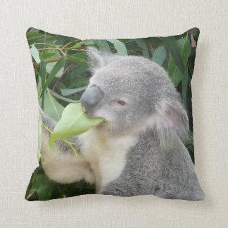 Koala Eating Gum Leaf Throw Pillow