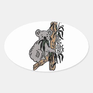 Koala Eating Oval Sticker