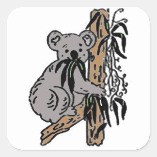 Koala Eating Square Sticker