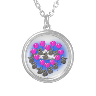 koala flying formation team  ( heart ) silver plated necklace