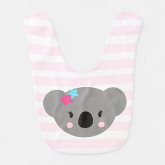 Koala Girl baby bib pink stripes and polka dots