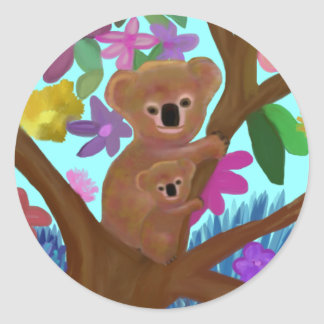 Koala Habitat Round Sticker