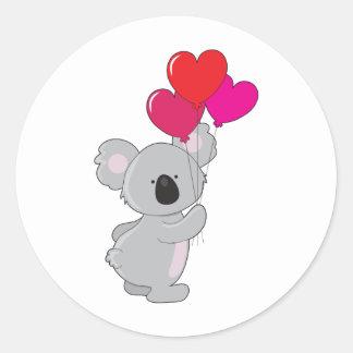 Koala Heart Balloons Round Stickers