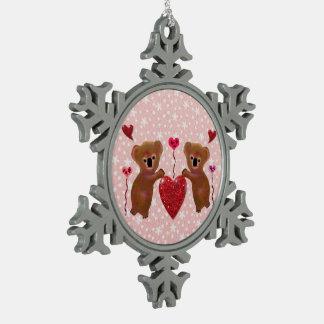 Koala Hearts Snowflake Ornament