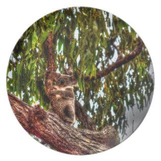 KOALA IN TREE AUSTRALIA ART EFFECTS PARTY PLATE