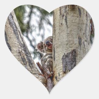 KOALA IN TREE AUSTRALIA WITH ART EFFECTS HEART STICKER