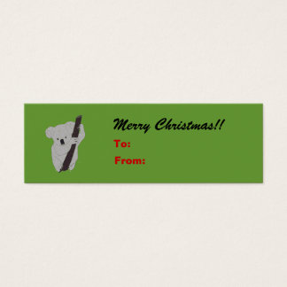 Koala Merry Christmas Holiday Gift Tag Mini Business Card