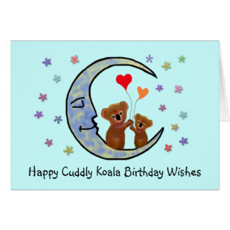 Koala Moon Birthday Wishes Card