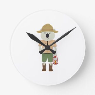 koala ranger with hat Zgvje Round Clock