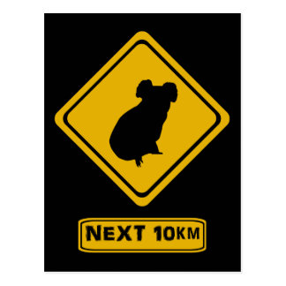 koala road sign postcard
