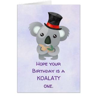 Koalaty Birthday Pun Cute Koala in Top Hat Card