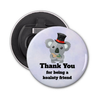 Koalaty Friend Pun Cute Koala in Top Hat Bottle Opener