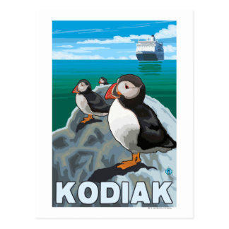 Kodiak, AlaskaPuffins and Alaskan Cruise Ship Postcard